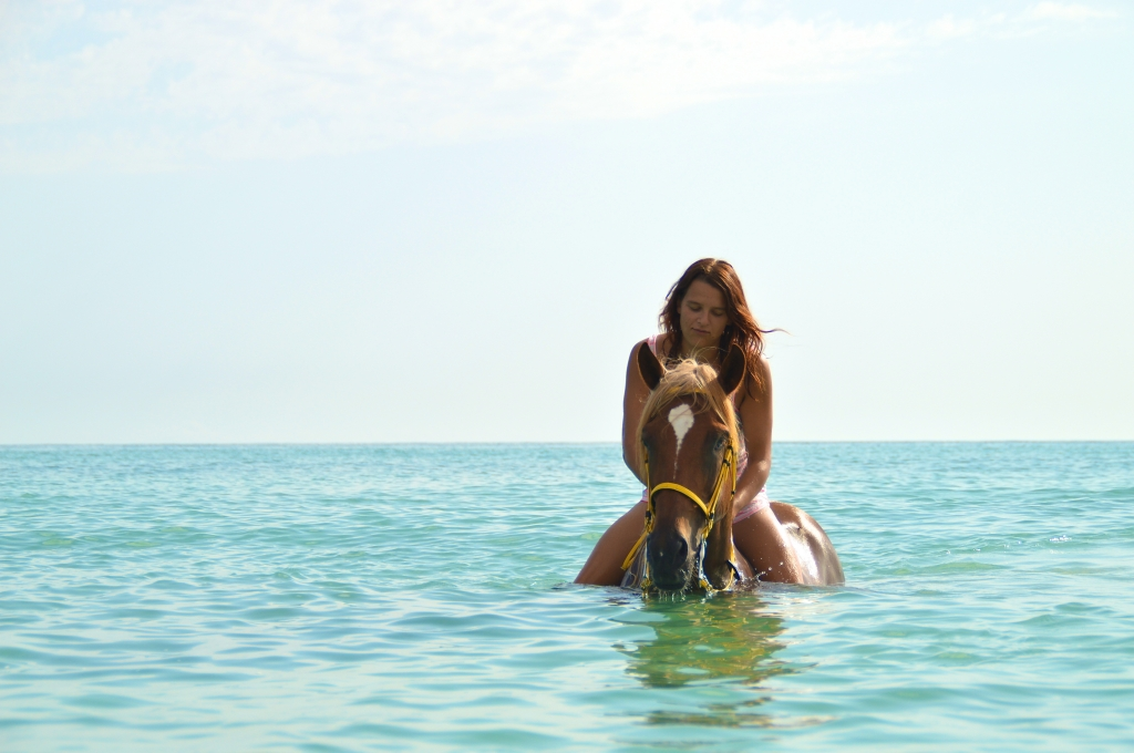 Horse riding in the sea