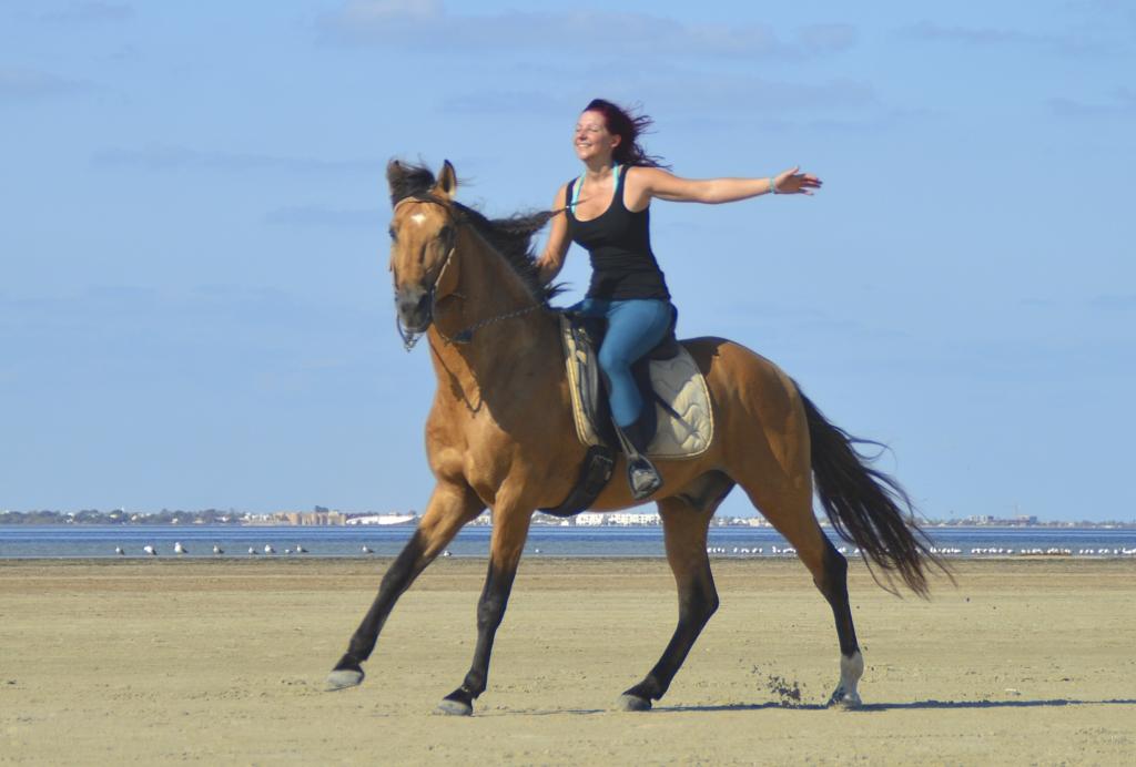 Guest enjoying a gallop on the beach